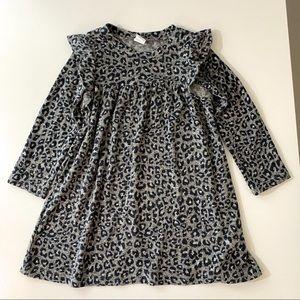 Gap Black & Gray Animal Print Sweater Dress 3T